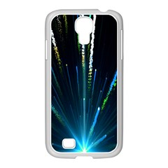 Seamless Colorful Blue Light Fireworks Sky Black Ultra Samsung Galaxy S4 I9500/ I9505 Case (white)