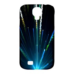 Seamless Colorful Blue Light Fireworks Sky Black Ultra Samsung Galaxy S4 Classic Hardshell Case (pc+silicone)