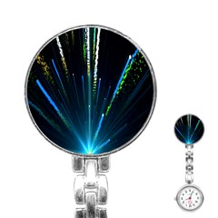 Seamless Colorful Blue Light Fireworks Sky Black Ultra Stainless Steel Nurses Watch
