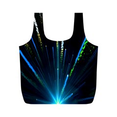 Seamless Colorful Blue Light Fireworks Sky Black Ultra Full Print Recycle Bags (m)