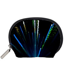 Seamless Colorful Blue Light Fireworks Sky Black Ultra Accessory Pouches (small)