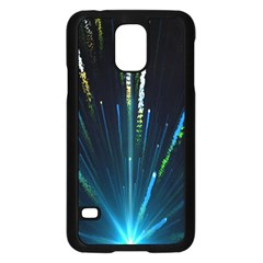 Seamless Colorful Blue Light Fireworks Sky Black Ultra Samsung Galaxy S5 Case (black)