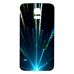 Seamless Colorful Blue Light Fireworks Sky Black Ultra Samsung Galaxy S5 Back Case (white)