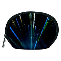 Seamless Colorful Blue Light Fireworks Sky Black Ultra Accessory Pouches (medium)