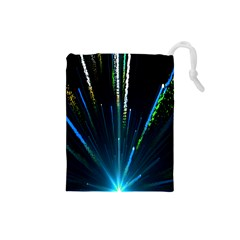 Seamless Colorful Blue Light Fireworks Sky Black Ultra Drawstring Pouches (small)