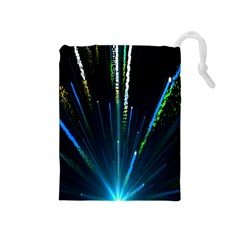Seamless Colorful Blue Light Fireworks Sky Black Ultra Drawstring Pouches (medium)
