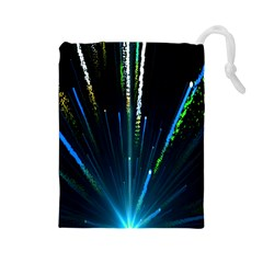 Seamless Colorful Blue Light Fireworks Sky Black Ultra Drawstring Pouches (large)