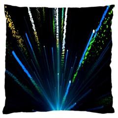 Seamless Colorful Blue Light Fireworks Sky Black Ultra Large Flano Cushion Case (two Sides)