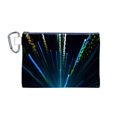 Seamless Colorful Blue Light Fireworks Sky Black Ultra Canvas Cosmetic Bag (m)