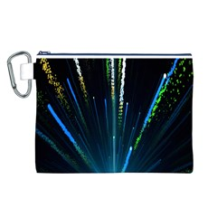 Seamless Colorful Blue Light Fireworks Sky Black Ultra Canvas Cosmetic Bag (l)