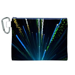 Seamless Colorful Blue Light Fireworks Sky Black Ultra Canvas Cosmetic Bag (xl)