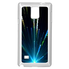 Seamless Colorful Blue Light Fireworks Sky Black Ultra Samsung Galaxy Note 4 Case (white)