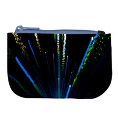 Seamless Colorful Blue Light Fireworks Sky Black Ultra Large Coin Purse