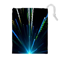 Seamless Colorful Blue Light Fireworks Sky Black Ultra Drawstring Pouches (extra Large)