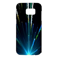 Seamless Colorful Blue Light Fireworks Sky Black Ultra Samsung Galaxy S7 Edge Hardshell Case