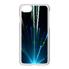 Seamless Colorful Blue Light Fireworks Sky Black Ultra Apple Iphone 7 Seamless Case (white)