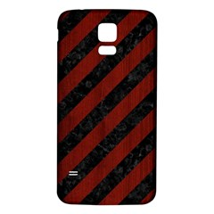 Stripes3 Black Marble & Reddish Brown Wood (r) Samsung Galaxy S5 Back Case (white)