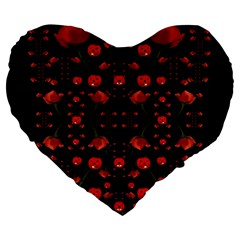 Pumkins And Roses From The Fantasy Garden Large 19  Premium Flano Heart Shape Cushions
