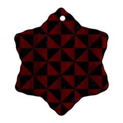 Triangle1 Black Marble & Reddish Brown Wood Snowflake Ornament (two Sides)