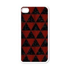 Triangle3 Black Marble & Reddish Brown Wood Apple Iphone 4 Case (white)