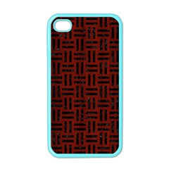 Woven1 Black Marble & Reddish Brown Wood Apple Iphone 4 Case (color)