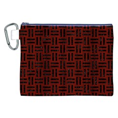 Woven1 Black Marble & Reddish Brown Wood Canvas Cosmetic Bag (xxl)