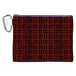 WOVEN1 BLACK MARBLE & REDDISH-BROWN WOOD Canvas Cosmetic Bag (XXL) Front