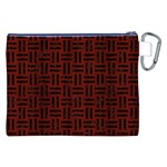 WOVEN1 BLACK MARBLE & REDDISH-BROWN WOOD Canvas Cosmetic Bag (XXL) Back