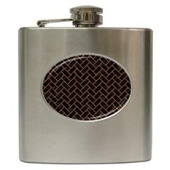 Brick2 Black Marble & Rusted Metal (r) Hip Flask (6 Oz)