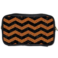 Chevron3 Black Marble & Rusted Metal Toiletries Bags