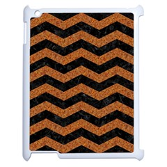 Chevron3 Black Marble & Rusted Metal Apple Ipad 2 Case (white)