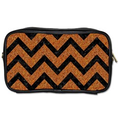 Chevron9 Black Marble & Rusted Metal Toiletries Bags