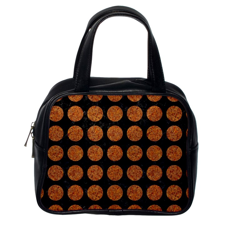 CIRCLES1 BLACK MARBLE & RUSTED METAL (R) Classic Handbags (One Side)