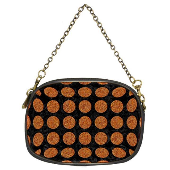 CIRCLES1 BLACK MARBLE & RUSTED METAL (R) Chain Purses (Two Sides)