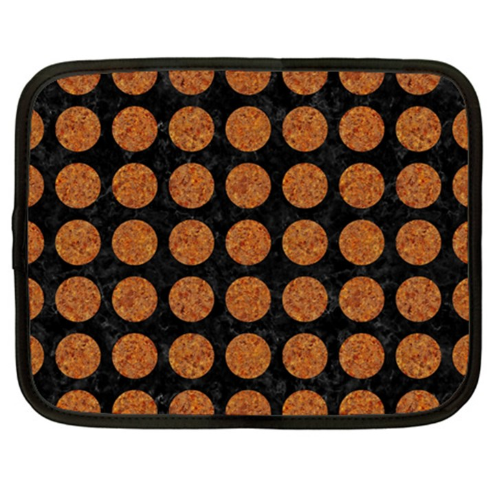 CIRCLES1 BLACK MARBLE & RUSTED METAL (R) Netbook Case (XXL)