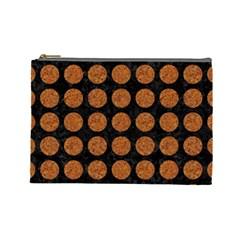 Circles1 Black Marble & Rusted Metal (r) Cosmetic Bag (large)