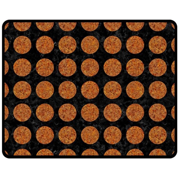 CIRCLES1 BLACK MARBLE & RUSTED METAL (R) Fleece Blanket (Medium)