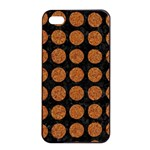 CIRCLES1 BLACK MARBLE & RUSTED METAL (R) Apple iPhone 4/4s Seamless Case (Black) Front
