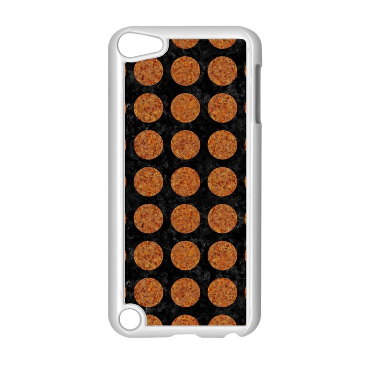 CIRCLES1 BLACK MARBLE & RUSTED METAL (R) Apple iPod Touch 5 Case (White)