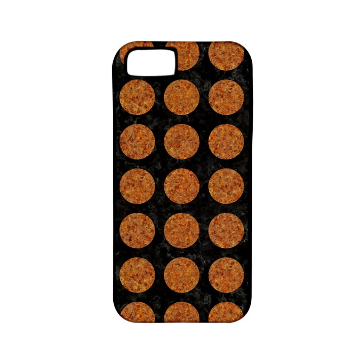 CIRCLES1 BLACK MARBLE & RUSTED METAL (R) Apple iPhone 5 Classic Hardshell Case (PC+Silicone)