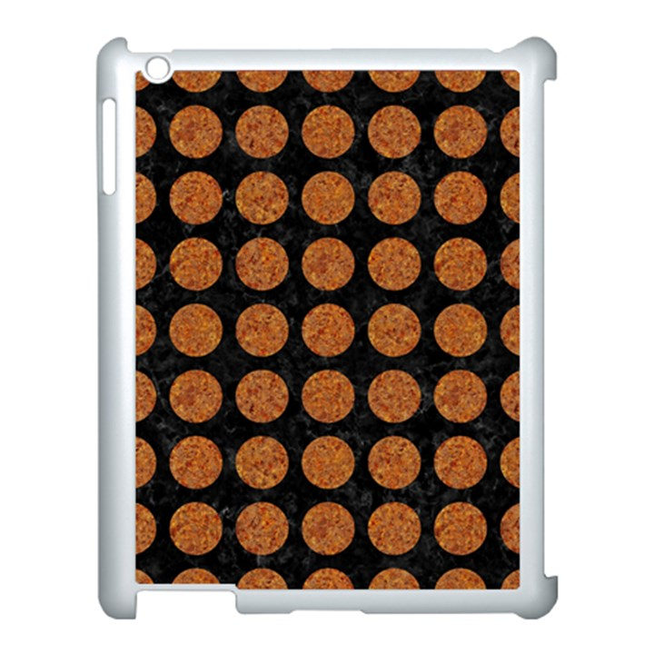 CIRCLES1 BLACK MARBLE & RUSTED METAL (R) Apple iPad 3/4 Case (White)