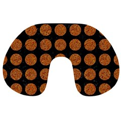 Circles1 Black Marble & Rusted Metal (r) Travel Neck Pillows