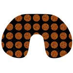 CIRCLES1 BLACK MARBLE & RUSTED METAL (R) Travel Neck Pillows Front