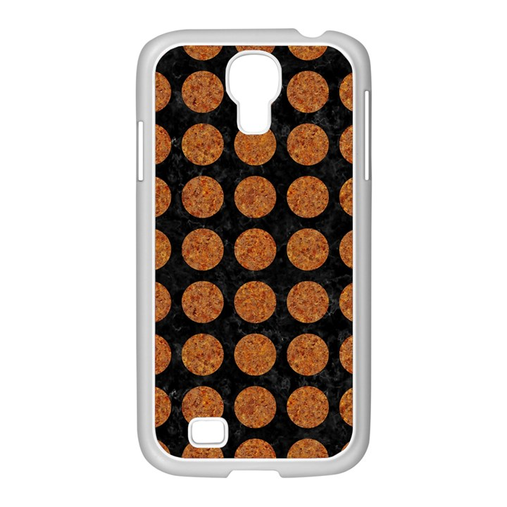 CIRCLES1 BLACK MARBLE & RUSTED METAL (R) Samsung GALAXY S4 I9500/ I9505 Case (White)