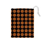 CIRCLES1 BLACK MARBLE & RUSTED METAL (R) Drawstring Pouches (Medium)  Front