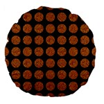 CIRCLES1 BLACK MARBLE & RUSTED METAL (R) Large 18  Premium Flano Round Cushions Front