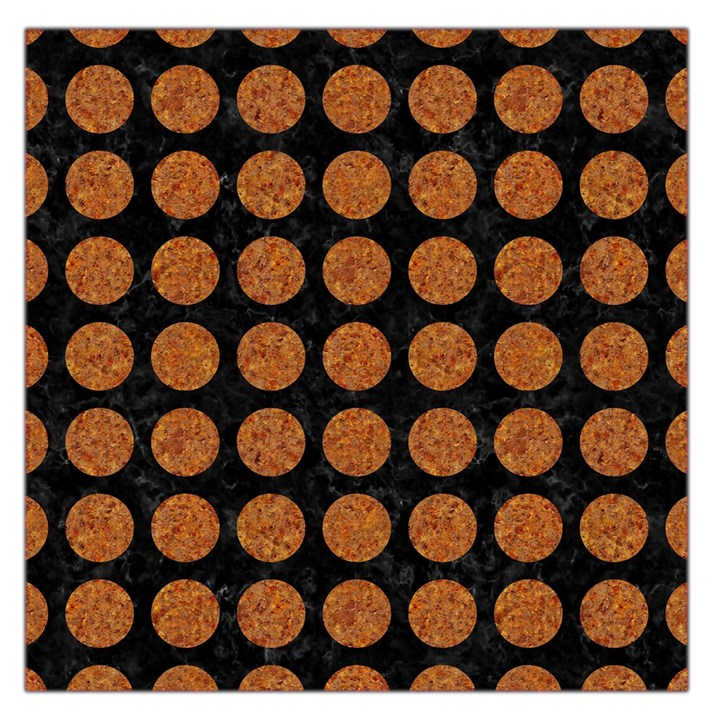 CIRCLES1 BLACK MARBLE & RUSTED METAL (R) Large Satin Scarf (Square)