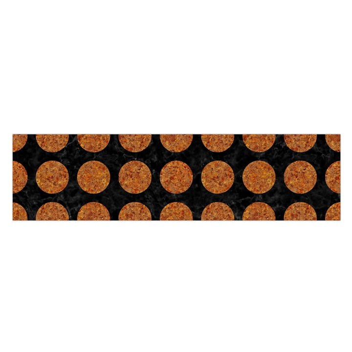 CIRCLES1 BLACK MARBLE & RUSTED METAL (R) Satin Scarf (Oblong)