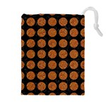 CIRCLES1 BLACK MARBLE & RUSTED METAL (R) Drawstring Pouches (Extra Large) Front