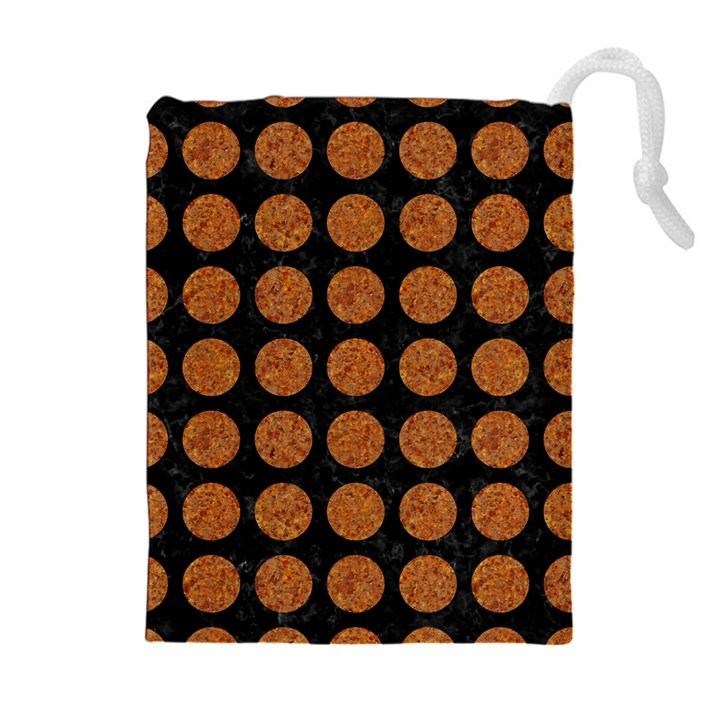 CIRCLES1 BLACK MARBLE & RUSTED METAL (R) Drawstring Pouches (Extra Large)